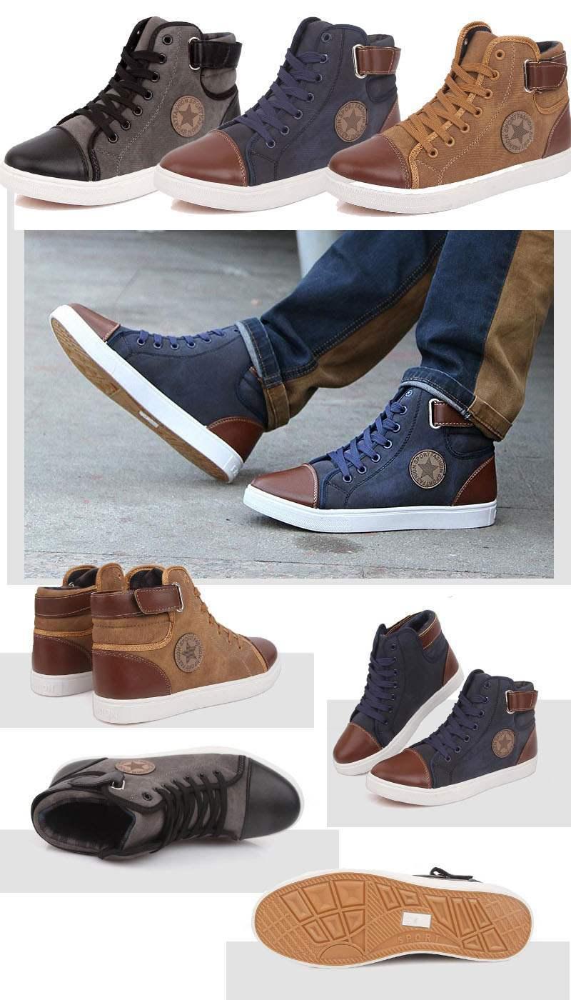 baskets homme montantes sport boucle fashion sneakers confort casual bleu. Black Bedroom Furniture Sets. Home Design Ideas