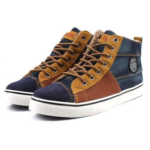baskets sneakers homme toile jean fourrees casual fashion men bleu. Black Bedroom Furniture Sets. Home Design Ideas