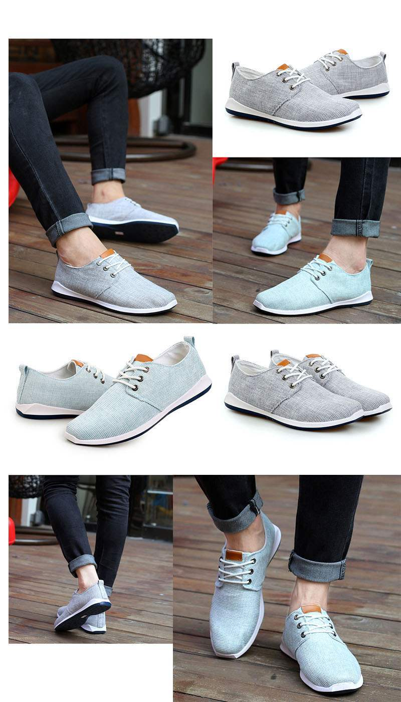 0cb0b50fb6b968 Chaussures Homme Toile Casual Summer Sport Confort lacets Gris clair