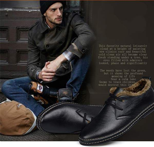 chaussures fourrees homme noir fashion hiver warm winter shoes. Black Bedroom Furniture Sets. Home Design Ideas