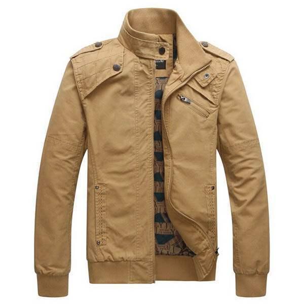 blouson homme fashion outwear jacket casual coton beige. Black Bedroom Furniture Sets. Home Design Ideas