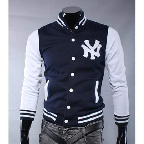 blouson veste homme fashion baseball ny jacket sport bleu. Black Bedroom Furniture Sets. Home Design Ideas