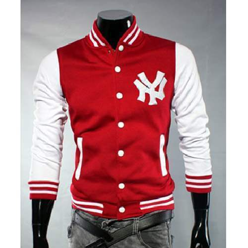 blouson veste homme fashion baseball ny jacket sport rouge. Black Bedroom Furniture Sets. Home Design Ideas