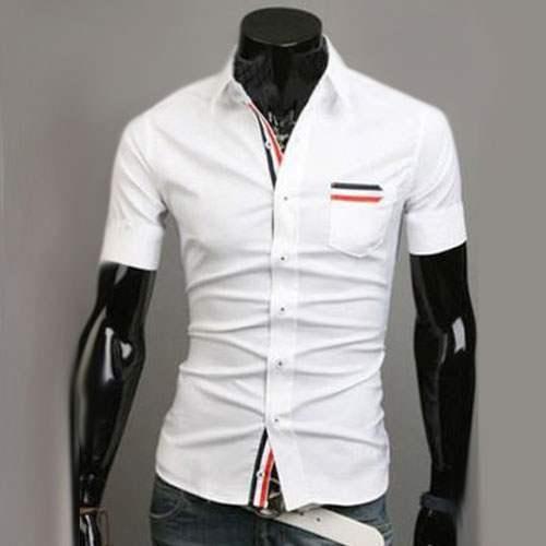 chemise homme manches courtes men elegance bande rayee fitted blanc. Black Bedroom Furniture Sets. Home Design Ideas