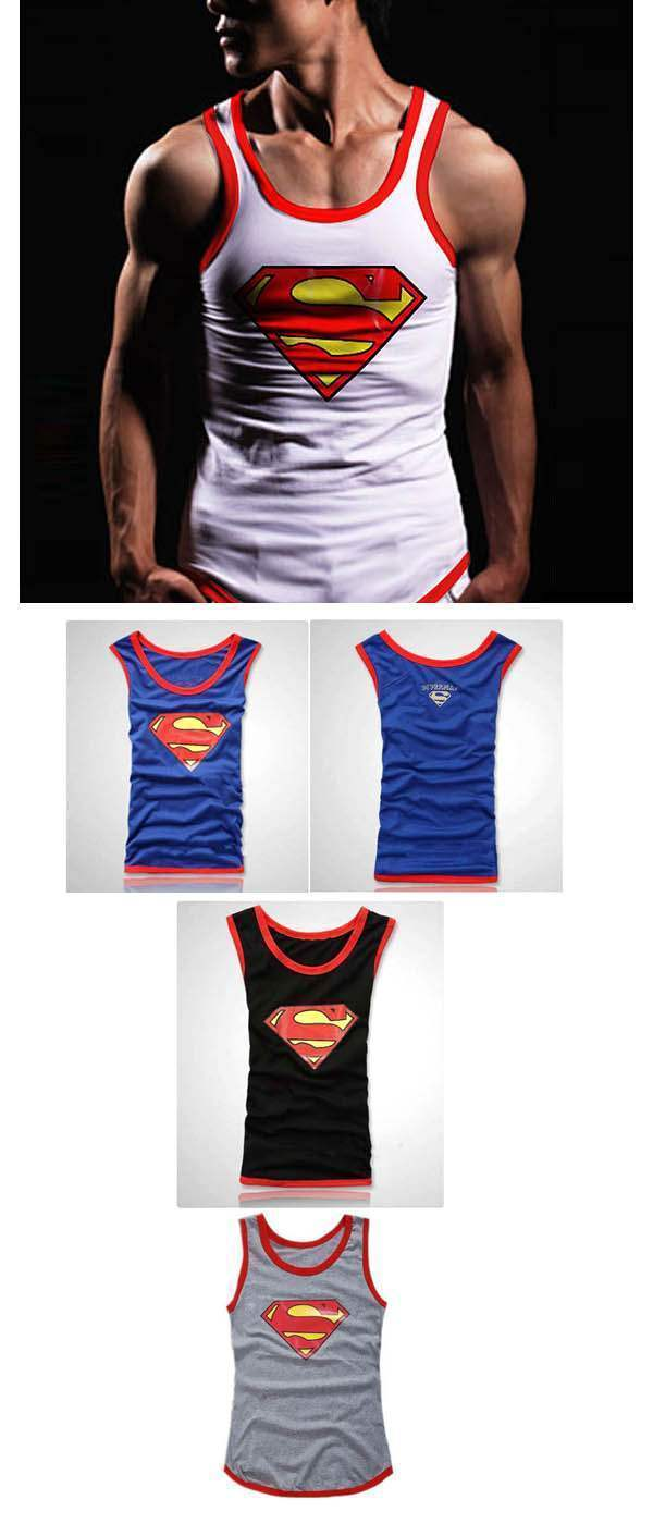 t shirt debardeur slim fit homme superman swag men fashion. Black Bedroom Furniture Sets. Home Design Ideas