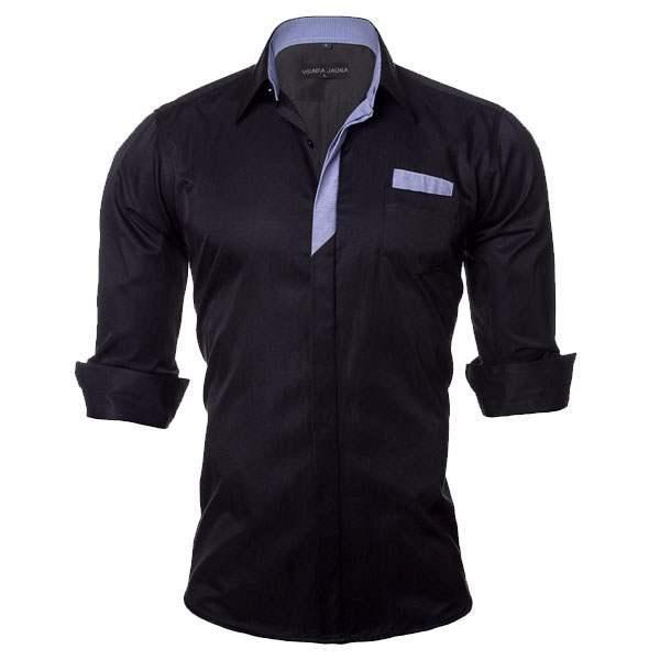 Chemise homme elegance fashion slim fit bleu marine - Chemise homme fashion coupe italienne cintree ...