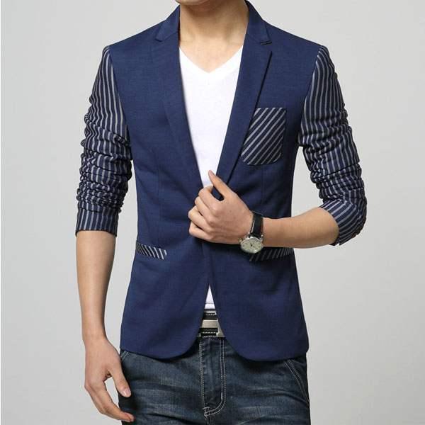 veste costume homme fashion ceintree rayee slim fit bleu marine. Black Bedroom Furniture Sets. Home Design Ideas