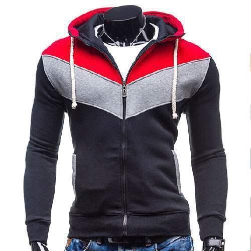 gilet veste hoodie sport fitted capuche zippe chevron tricolore noir rouge. Black Bedroom Furniture Sets. Home Design Ideas