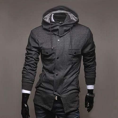 sweat a capuche hoodie veste men fashion gilet blouson outwear homme gris. Black Bedroom Furniture Sets. Home Design Ideas