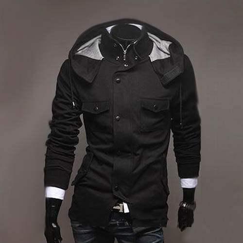 sweat a capuche hoodie veste men fashion gilet blouson outwear homme noir. Black Bedroom Furniture Sets. Home Design Ideas