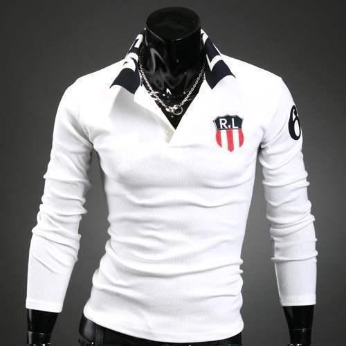 polo homme manches longues fashion ecusson stylish sport blanc. Black Bedroom Furniture Sets. Home Design Ideas