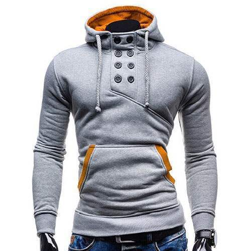 sweat hoodie a capuche boutons sportswear outwear style men homme fashion gris clair. Black Bedroom Furniture Sets. Home Design Ideas