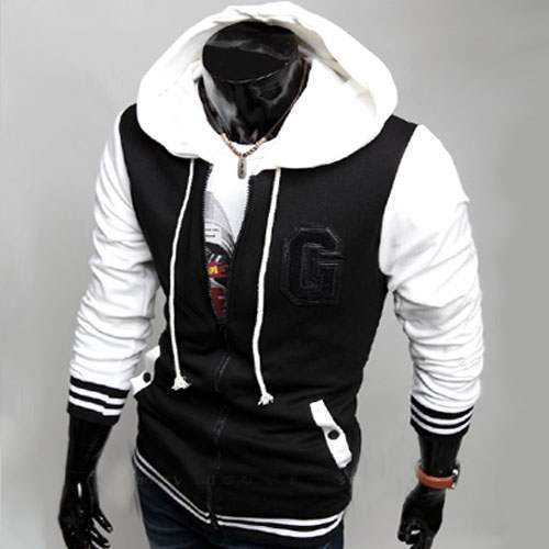 sweat hoodie capuche sweater men gilet baseball sport university fashion blanc. Black Bedroom Furniture Sets. Home Design Ideas