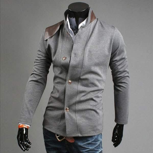 veste elegance british blazer homme col mandarin fitted men gris. Black Bedroom Furniture Sets. Home Design Ideas