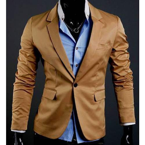 veste homme fashion formal slim fit blazer chic jacket camel. Black Bedroom Furniture Sets. Home Design Ideas