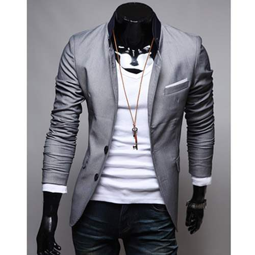 veste homme fashion jacket men suit slim fit gris clair. Black Bedroom Furniture Sets. Home Design Ideas