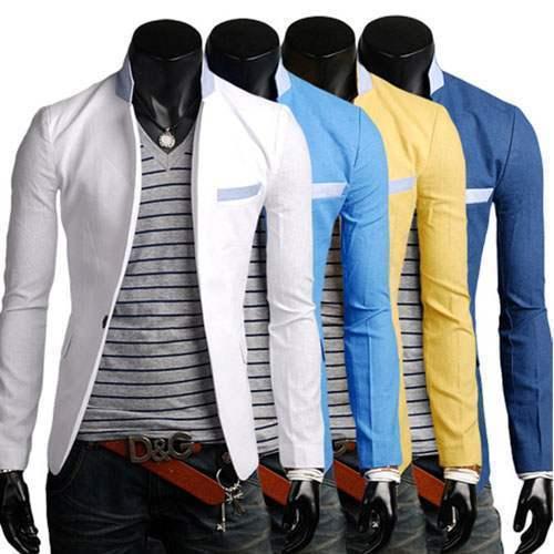 veste homme lin blazer fashion jacket men suit slim fit class summer elegance. Black Bedroom Furniture Sets. Home Design Ideas