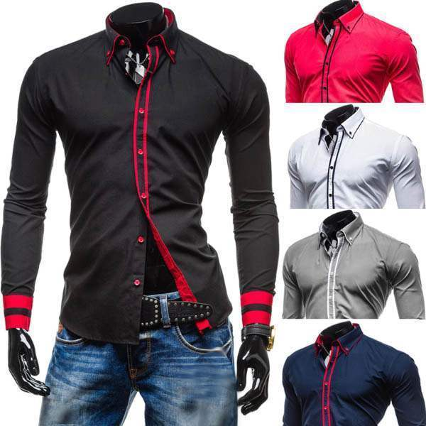 Chemise Homme Ajustee Slim Fit Fashion Lisere Colore