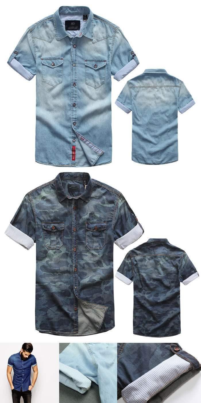 chemise homme manches courtes denim jean fashion urban outfit men bleu clair. Black Bedroom Furniture Sets. Home Design Ideas