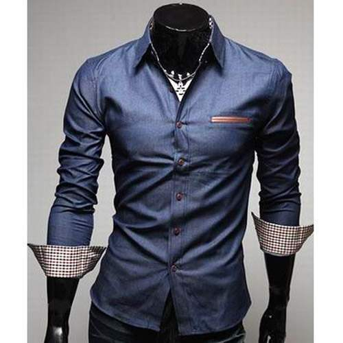Chemise Homme Fashion Denim Style Design Slim Fit Classe