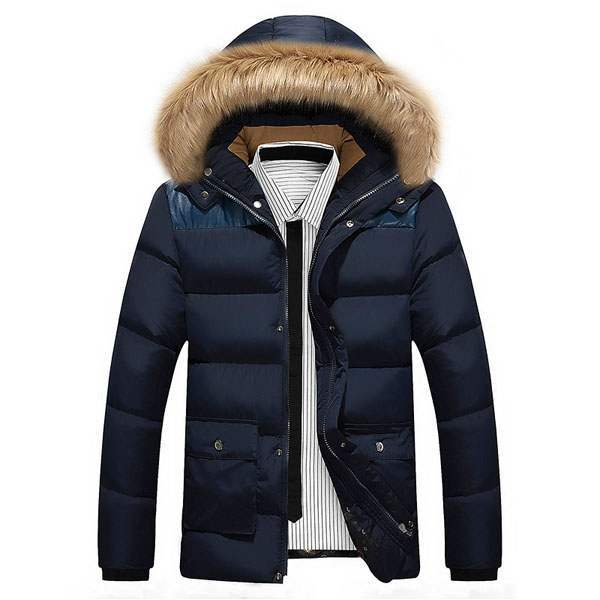 doudoune homme parka capuche fourrure outwear hiver bleu marine. Black Bedroom Furniture Sets. Home Design Ideas