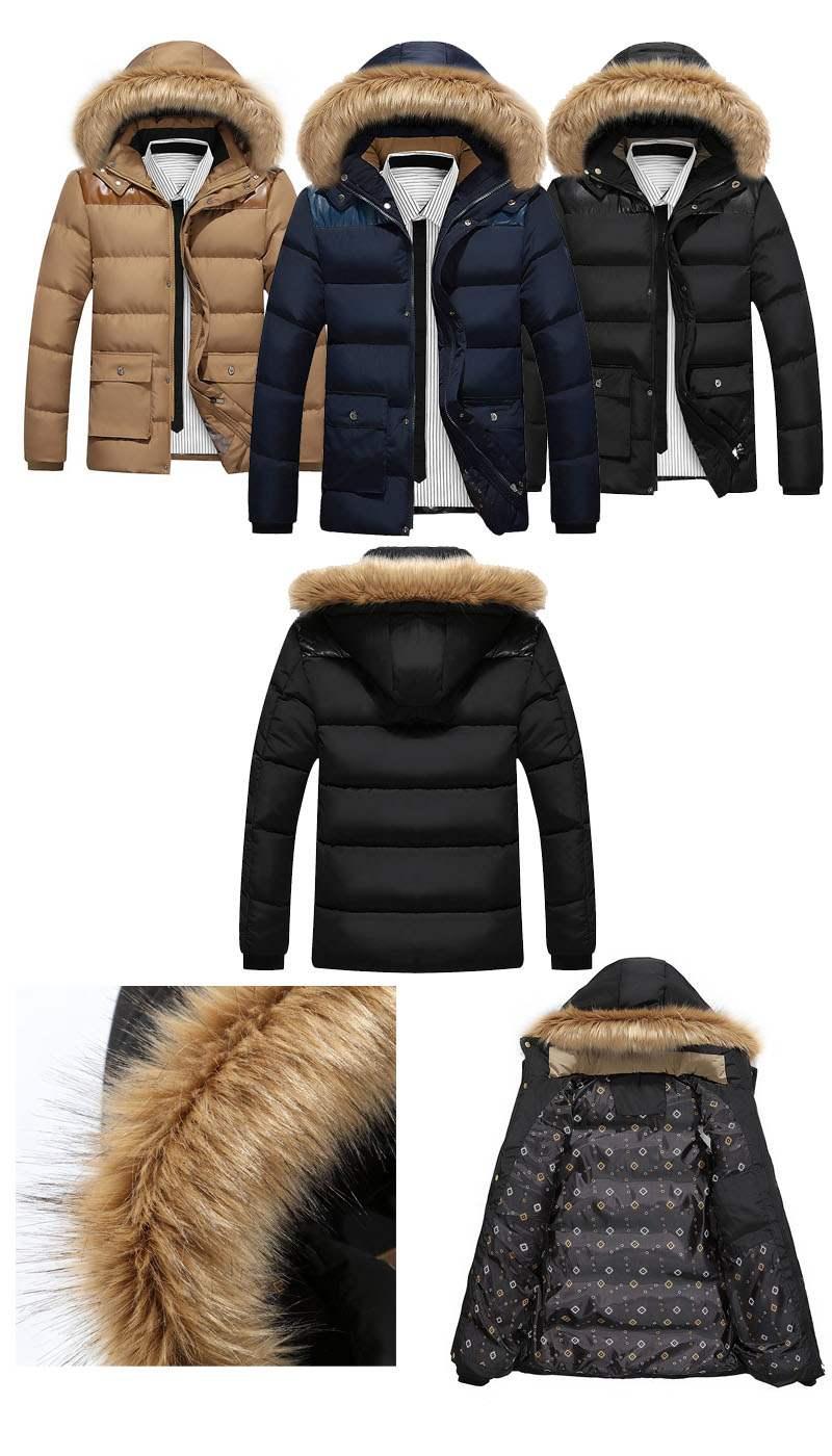 doudoune homme parka capuche fourrure outwear hiver noir. Black Bedroom Furniture Sets. Home Design Ideas