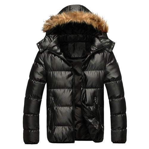 doudoune homme capuche sport chic luxe fourrure parka brillante noir. Black Bedroom Furniture Sets. Home Design Ideas