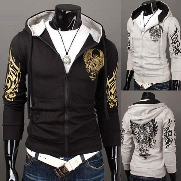 hoodie sweat capuche homme zipper esprit tatouage rider rock. Black Bedroom Furniture Sets. Home Design Ideas