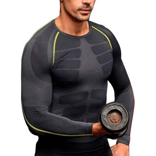 t shirt compression homme sport musculation work out gym entrainement. Black Bedroom Furniture Sets. Home Design Ideas
