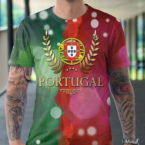 t shirt homme exclusif design portugal flag blason. Black Bedroom Furniture Sets. Home Design Ideas
