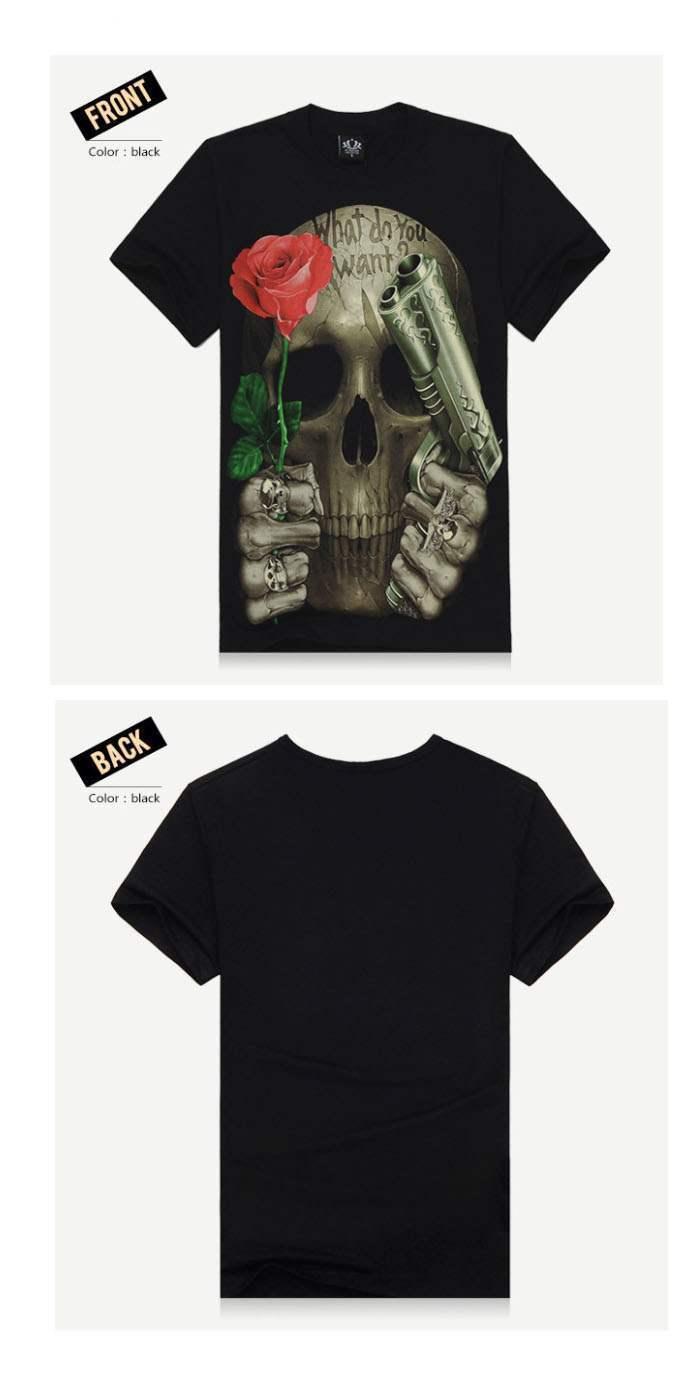 T Shirt à Manches Courtes Noir Skull Tattoo Rose Latino Tete De Mort