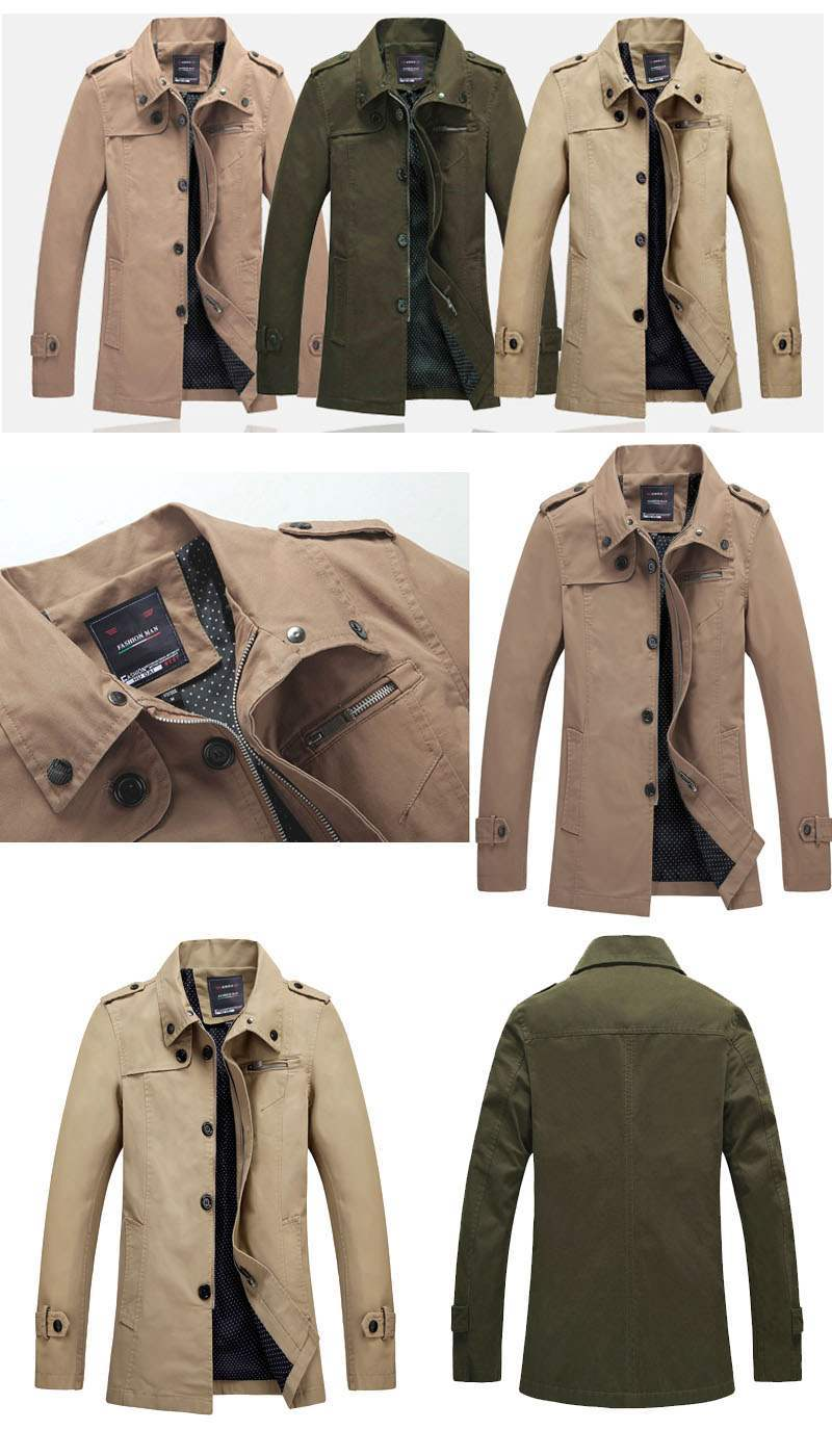 Trench Coat Homme Vert Fashion British Style Impermeable XxzOqXrw