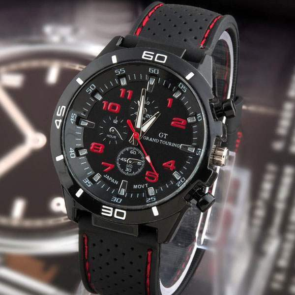montre homme fashion men watch sport racing quartz classe. Black Bedroom Furniture Sets. Home Design Ideas