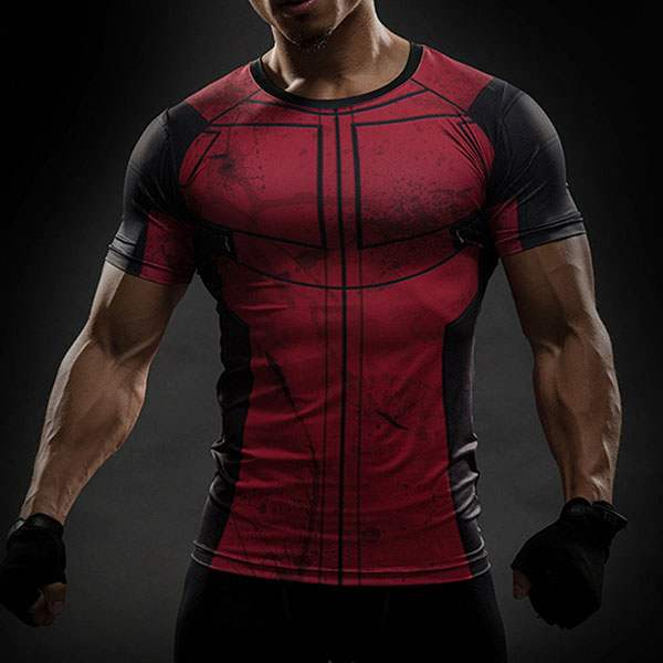 t shirt compression homme red musculation super hero. Black Bedroom Furniture Sets. Home Design Ideas