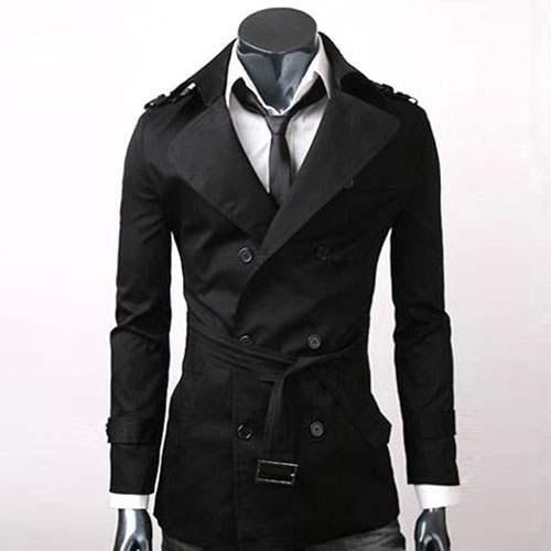 trench homme style anglais classique mi long elegant noir. Black Bedroom Furniture Sets. Home Design Ideas