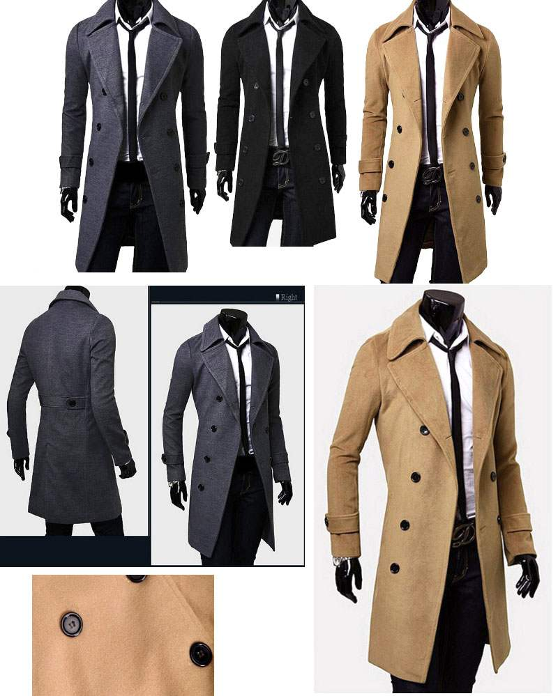 veste caban trench homme long cintre fitted fashion elegant gris. Black Bedroom Furniture Sets. Home Design Ideas